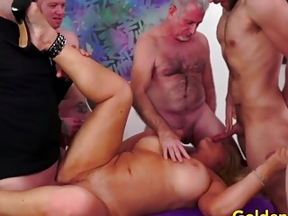 Golden Slut  Mature Cumsluts Getting Gangbanged Compilation Part 1