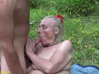 Ultra-kinky 85 years senior grandmother gets extraordinary raunchy outdoor poked by her youthfull toyboy