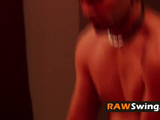 Ultra-kinky SWINGER weirdos attempt without a condom lovemaking in the crimson guest room