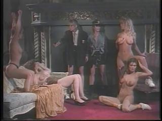 Retro fantasy lesbian orgy in mansion