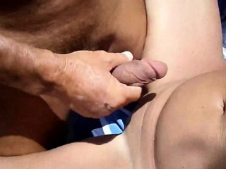 Two hard shafts ejaculating on a hot wife