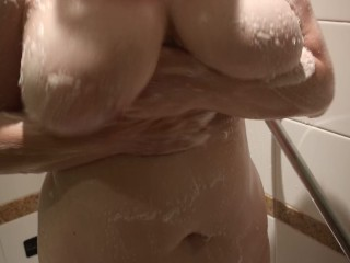 British Cuckold spliced Washes burnish applyir way 36G titties with burnish apply Shower
