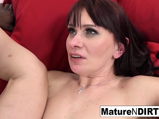 Sizzling dark-haired mature is longing an multiracial internal ejaculation
