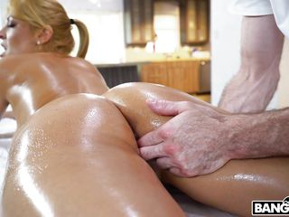 Light-haired cougar With A ample arse Gets torn up On The Marseage Table