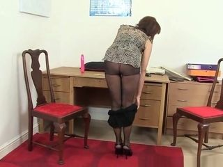 Brit office woman needs orgasmic ease
