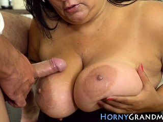 Mature huge-titted dame spermed