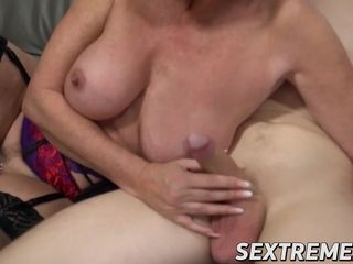 Big-boobed grandmother ravaged and creamed by much junior paramour