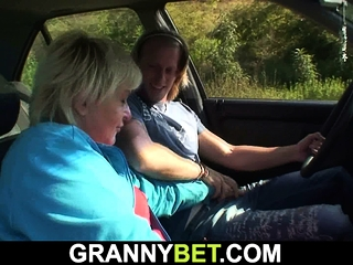 Youthful dude porks older 80 yo platinum-blonde grandma roadside