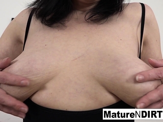 Mature with inborn funbags gets a internal ejaculation in her wooly puss!