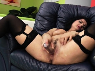 Sizzling mature fake penis and jizz flow