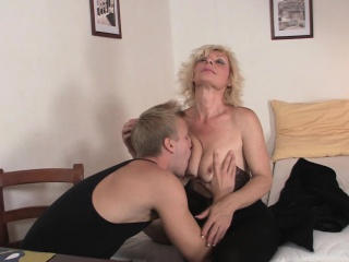 Lovely old blonde takes it from behind