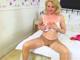 English cougar Diana wears milky g-strings over pantyhose