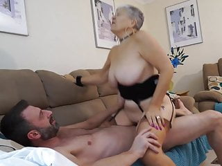 Granny with ginormous titties pokes stud
