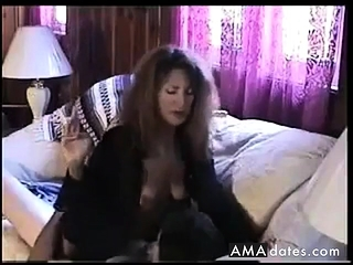 Molten mind-blowing black-haired Smoking and railing pink cigar