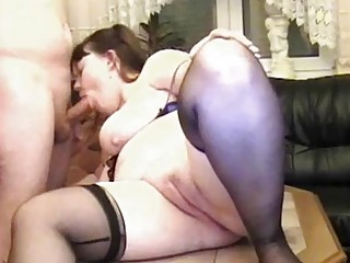 Horny husband eating his chubby wifes pussy
