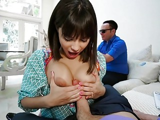 Unbelievable brown-haired deep throats dude's dick in front of sightless hubby