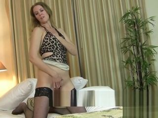 Long-legged Blonde Lacy Plays with Her Pink Vibrator