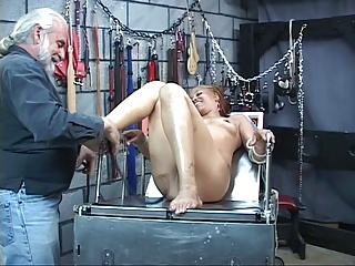 Young perky tit black girl in bdsm dungeon loves tweaking her cute nipples