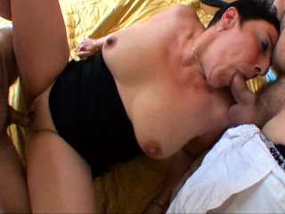 French mature Sylvie gang-fucked