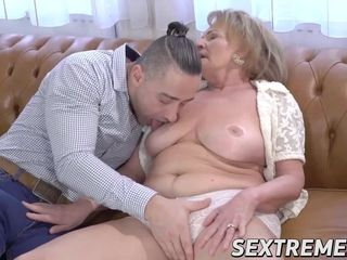 Tempting grannie inhales a pulsating trunk before rock hard drilling