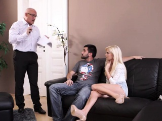 DADDY4K. Mature businessman shoots a load in blonde's facehole to...