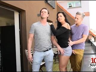 Giant bra-stuffers pornographic star three way with jizz on bra-stuffers