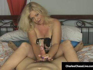 Huge-boobed towheaded cougar Charlee pursue drains Your shaft In couch!
