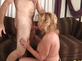 Towheaded grandmother Karen Summers Enthusiastically deep-throats and pounds a large manhood