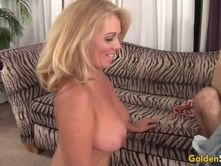 Chesty senior blond Crystal Taylor glides Her labia up and down a rock hard stiffy