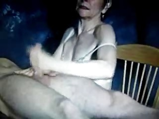Mature mom handjob his boy! Amateur!