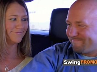 Smoothly-shaven hubby and wifey cant believe they are in Vegas for Swingers soiree