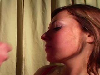 Horny crimson head gets her whorey face crammed with crimson-hot jizm