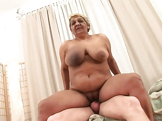 big boob oma riding